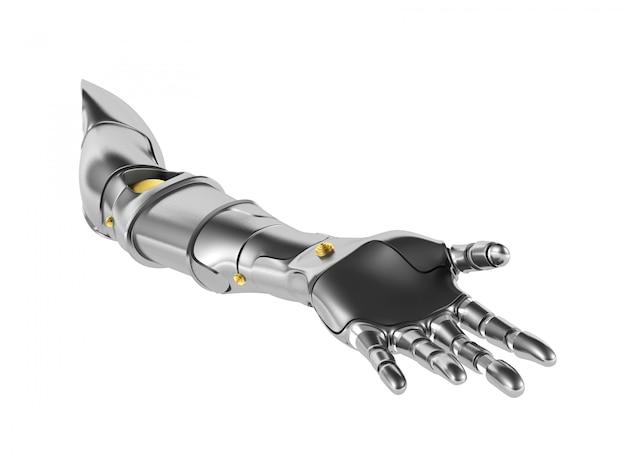 Metalowe ramię robota na białym tle