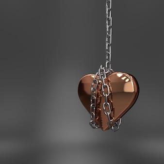 Metalowe serce wisi na łańcuszku
