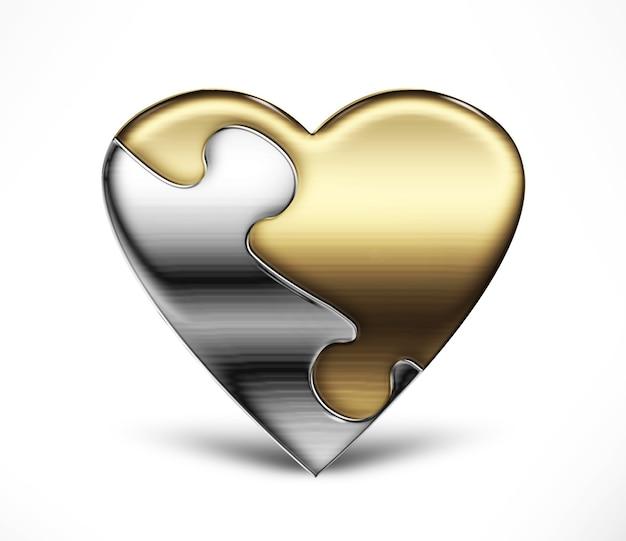 Metalowe serce z puzzli z dwóch części na jasnym tle