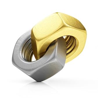 Metalowe stalowe i złote nakrętki