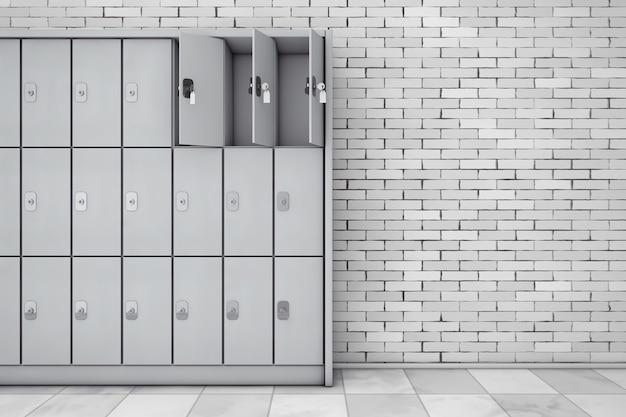 Metalowe szafki bezpieczeństwa na bagaż przed ceglaną ścianą. renderowanie 3d