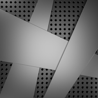 Metalowe tło z kształtami 3d