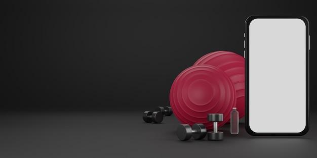Metalowy hantel, czerwona piłeczka i butelka na wodę z białym ekranem