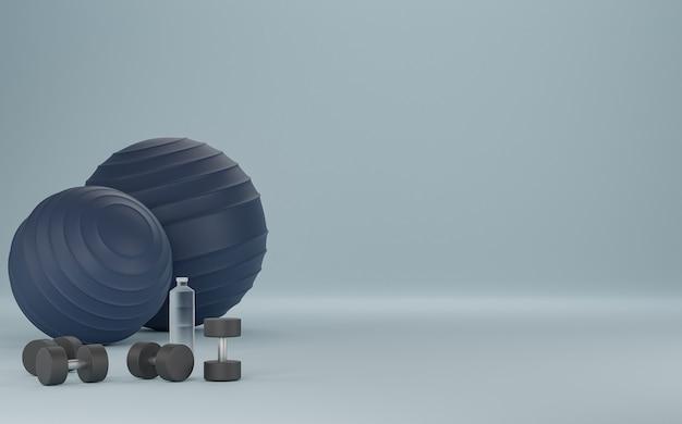 Metalowy hantel, niebieska fit-ball i butelka wody pitnej. sprzęt do fitnessu