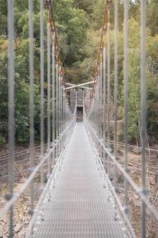 Metalowy most wiszący w lesie