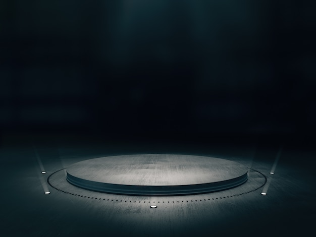 Metalowy stojak na pokaz produktu z jasnym punktem na tle.