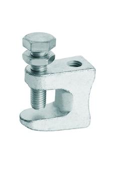 Metalowy zacisk do zawieszania różnych konstrukcji inżynierskich.