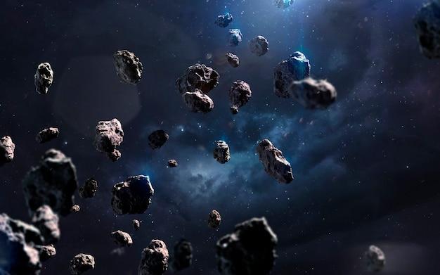 Meteoryty. obraz z kosmosu, fantasy science fiction w wysokiej rozdzielczości, idealny do tapet i druku. elementy tego zdjęcia dostarczone przez nasa
