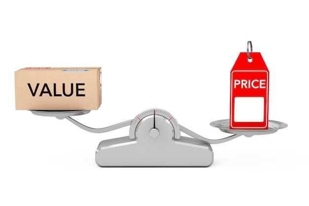 Metka z ceną z równoważeniem pola wartości na prostej skali ważenia na białym tle. renderowanie 3d.