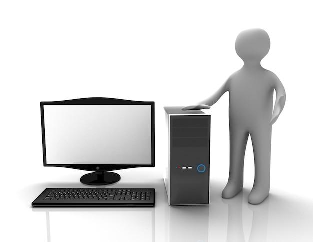 Mężczyzna 3d odsłania nowy komputer!