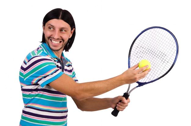 Mężczyzna bawić się tenisa odizolowywającego na bielu