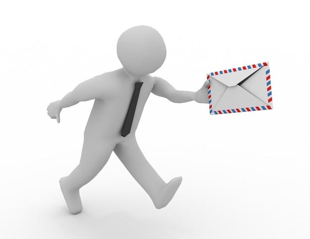 Mężczyzna biegnący z listem w ręku