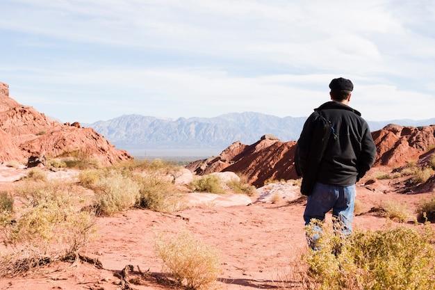 Mężczyzna chodzi w pustynnym krajobrazie