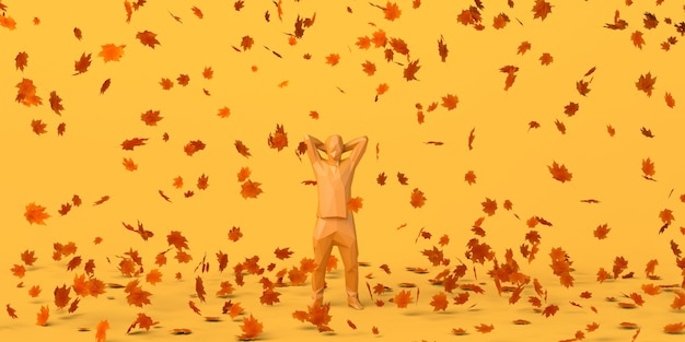 Mężczyzna cieszący się sezonem jesiennym ze spadającymi liśćmi jesienna przyjemność ilustracja 3d