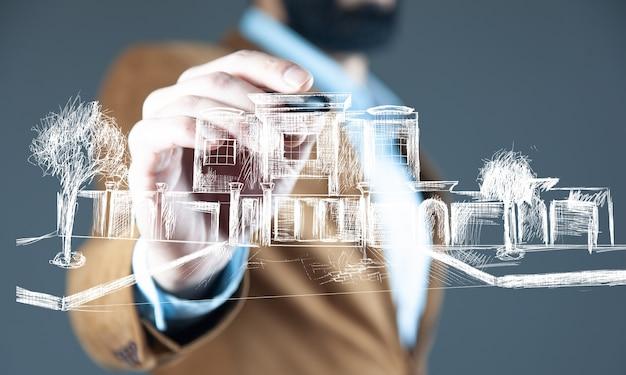 Mężczyzna dotyka budynków w renderowaniu ekranu