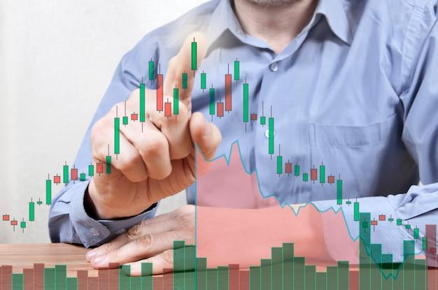 Mężczyzna dotyka palcem wykresów handlowych