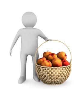 Mężczyzna i drewniany kosz wiklinowy i jabłka na białej przestrzeni. ilustracja na białym tle 3d