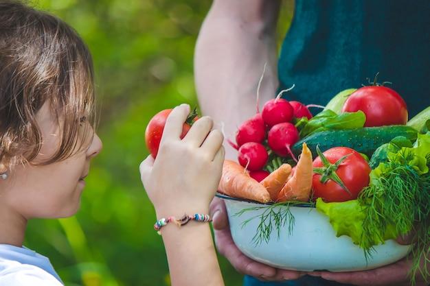 Mężczyzna i jego dziecko w ogrodzie z warzywami w dłoniach
