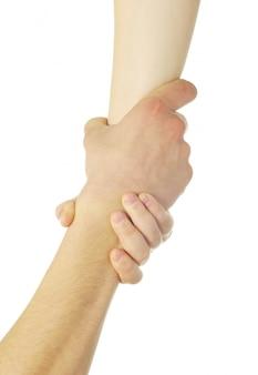 Mężczyzna i kobieta ręce na białym tle