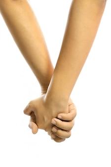 Mężczyzna i kobieta trzyma rękę wpólnie