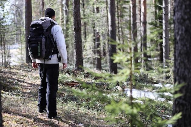 Mężczyzna jest turystą w sosnowym lesie z plecakiem. piesza wycieczka przez las. rezerwat sosnowy do spacerów turystycznych. młody człowiek na wędrówce na wiosnę.