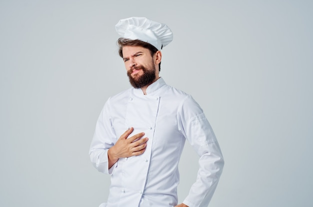 Mężczyzna kucharz kuchnia gesty rąk na białym tle