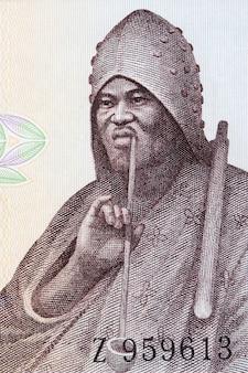 Mężczyzna pali fajkę portret od starych pieniędzy gwinei