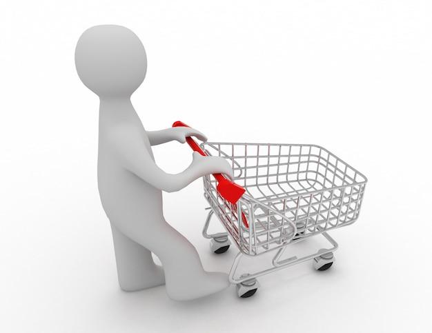 Mężczyzna pcha pusty koszyk na zakupy