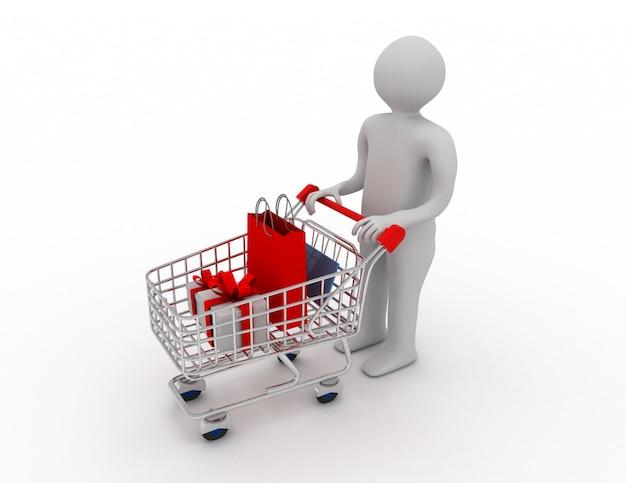 Mężczyzna pchający wózek na zakupy