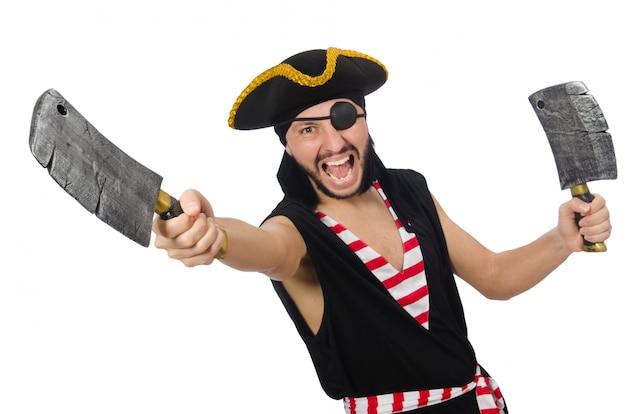 Mężczyzna pirat odizolowywający