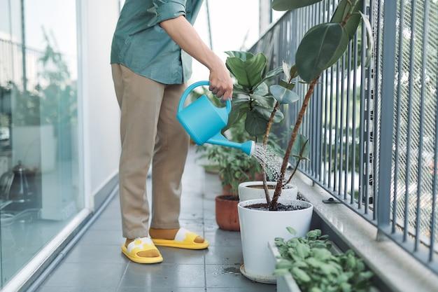 Mężczyzna podlewa rośliny domowe na balkonie