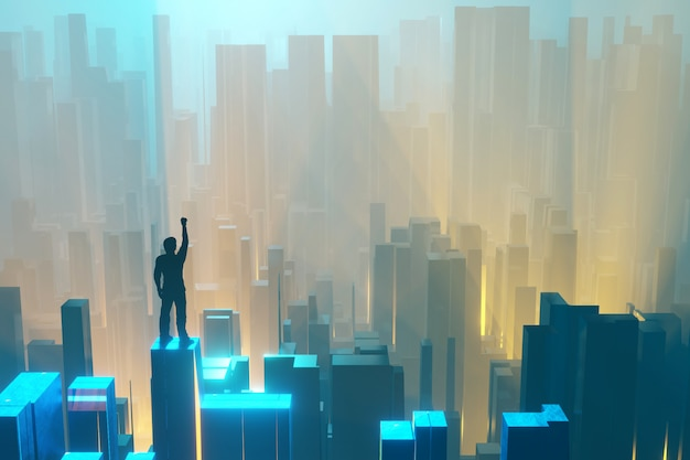 Mężczyzna, podnosząc rękę, stoi na szczycie i patrzy na fantastyczne miasto w neonowym świetle. renderowanie 3d.