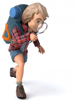 Mężczyzna podróżujących samotnie animacja backpacker