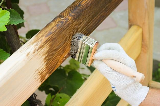 Mężczyzna pokryty lakierem drewniany płot