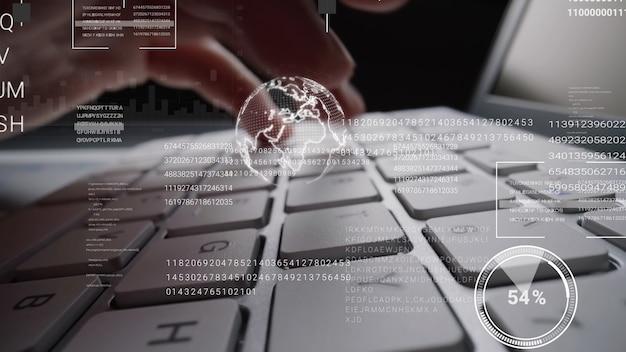 Mężczyzna pracujący na klawiaturze laptopa z graficznym hologramem interfejsu użytkownika gui przedstawiający koncepcje technologii big data science, cyfrowe połączenie sieciowe i algorytm programowania komputera.