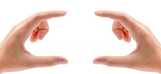 Mężczyzna ręce, trzymając lub naciskając coś
