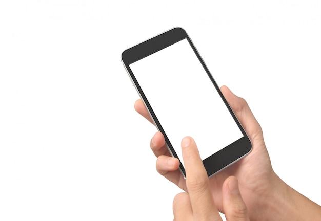 Mężczyzna ręka trzyma smartphone urządzenia dotykając ekranu