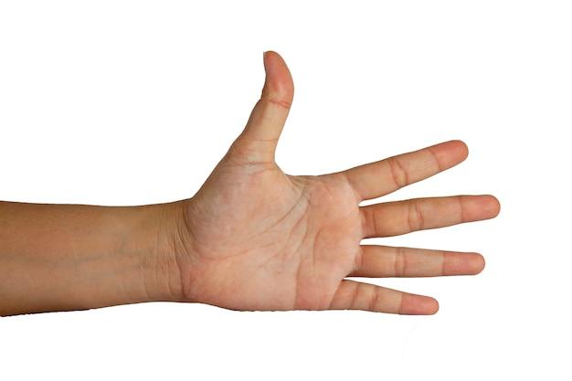 Mężczyzna ręki akcja na białym tle ma ścieżkę