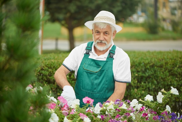 Mężczyzna robotnik ogrodnik przycinanie roślin i kwiatów.