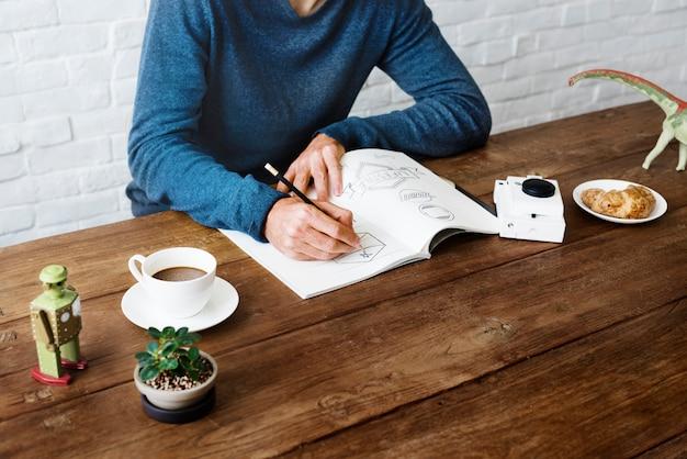 Mężczyzna rysunku szkic projekt etykiety grafika koncepcja