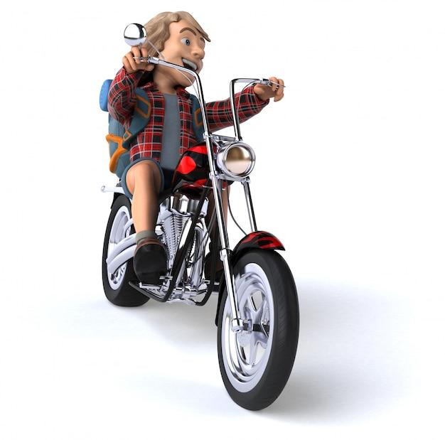 Mężczyzna solo podróżny backpacker - 3d ilustracja