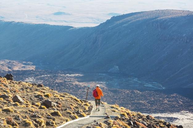 Mężczyzna spacerujący na trasie szlaku wędrówki z wulkanem nowej zelandii, tramping, piesze wycieczki w nowej zelandii.