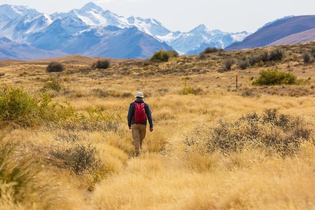 Mężczyzna spacerujący na trasie szlaku z mount cook national park, piękny region górski. tramping, wędrówki po nowej zelandii.
