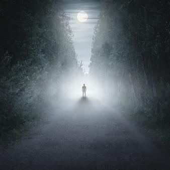 Mężczyzna spacerujący samotnie w bajce mglistego lasu