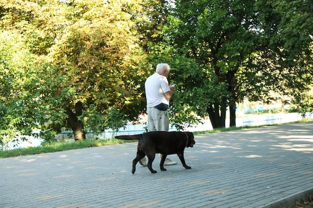 Mężczyzna spaceruje z psem w parku miejskim