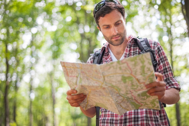 Mężczyzna sprawdza mapę w lesie