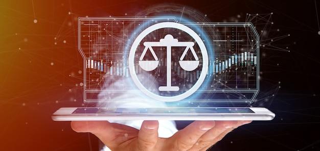 Mężczyzna trzyma technologii sprawiedliwości ikonę na okręgu 3d renderingu