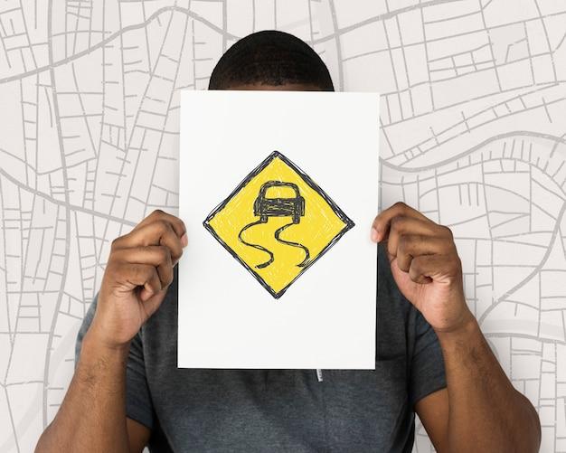Mężczyzna trzymający baner nakładki graficznej sieci