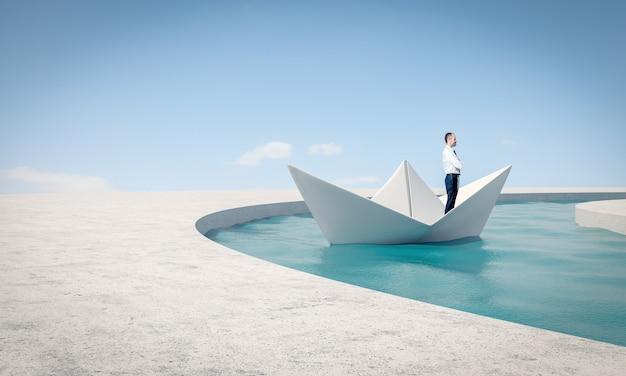 Mężczyzna używa papierowej łodzi do rozwiązania problemu.