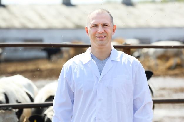 Mężczyzna w białym fartuchu na farmie krów